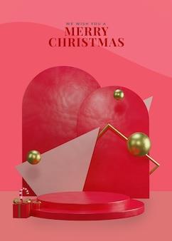 3d red christmas theme podium mit geschenkbox