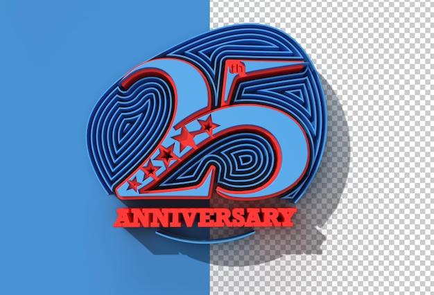 3d render 25-jährige jubiläumsfeier transparente psd-datei