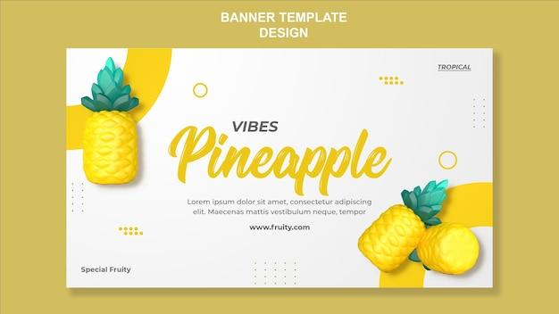 3d-render-ananas-banner-vorlagendesign