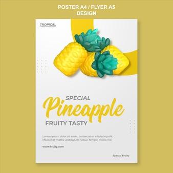 3d-render-ananas-poster-vorlagendesign