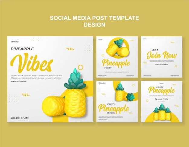 3d-render-ananas-social-media-vorlagendesign