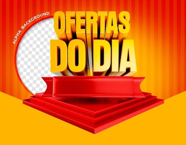 3d-render-angebote des tages auf dem podium in brasilien