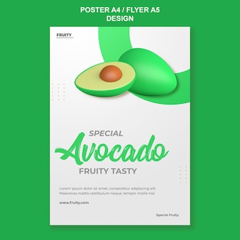 3d-render-avocado-poster-vorlagendesign