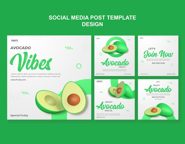 3d-render-avocado-social-media-post-vorlagendesign