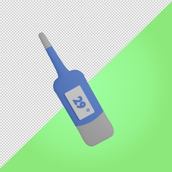 3d-render blaues digitales thermometer medizinisches symbol