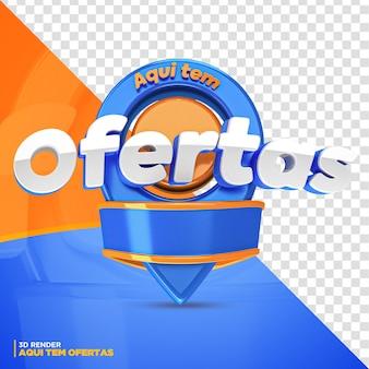 3d-render-blaues und orangefarbenes etikett bietet hier isolierte angebote