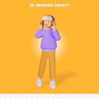 3d-render-cartoon-figur, die musik spielt