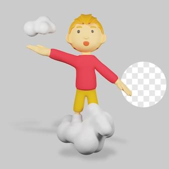3d-render-charakter mit wolke