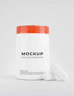 3d-render der flasche mit medizin für produktanzeige
