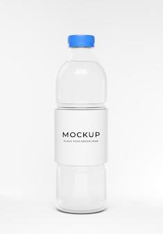 3d-render der wasserflasche mit etikettenmodell
