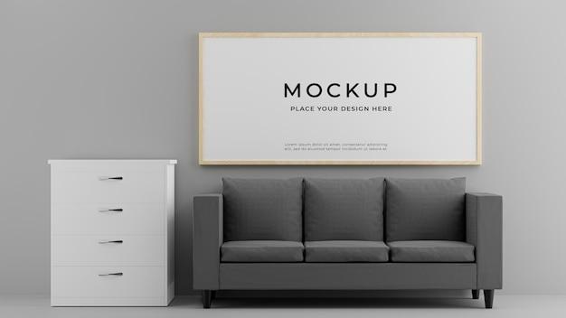 3d-render des wohnzimmerinnenraums mit bilderrahmen-sofakabinettmodell