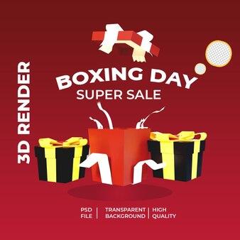 3d render drei giftbox mit boxing day
