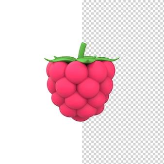 3d render einzelne rosa himbeere isolierten weißen hintergrund