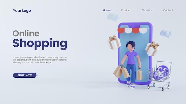 3d-render-frauencharakter mit bildschirm-smartphone-online-shopping-konzept-landing-page-psd-vorlage