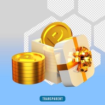 3d-render-geschenkbox mit poin-münze