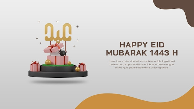 3d-render glücklich eid mubarak 1443 h mit schafen in geschenkbox auf podium-banner-design-vorlage