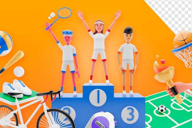 3d-render glücklicher sporttag verkauf ausrüstung konzept banner