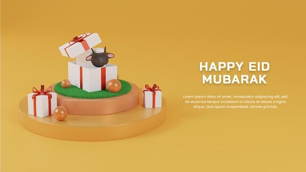 3d-render glückliches eid al adha mubarak mit schafen in geschenkbox auf podium-webdesign-vorlage