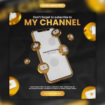 3d-render-gold-youtube-symbol und smartphone-social-media- und instagram-post-vorlage
