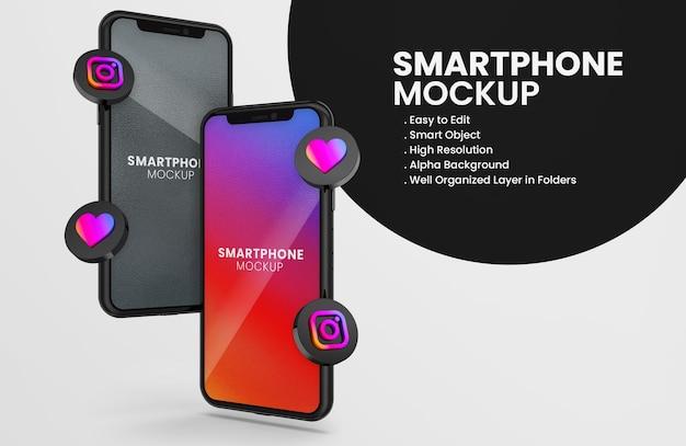 3d-render-instagram-symbol auf schwarzem smartphone-modell