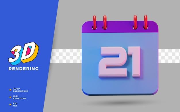 3d render isolierter symbolkalender von 21 tagen zur täglichen erinnerung oder planung