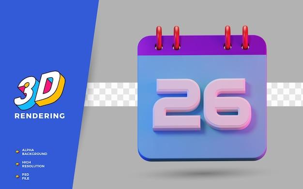 3d-render isolierter symbolkalender von 26 tagen zur täglichen erinnerung oder planung