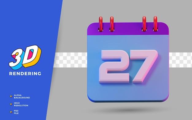 3d-render isolierter symbolkalender von 27 tagen zur täglichen erinnerung oder planung
