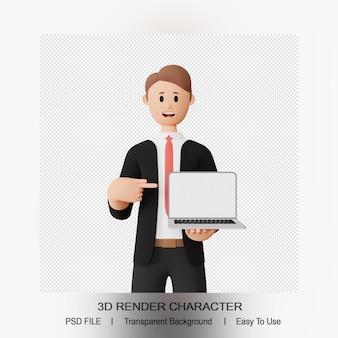 3d render männlicher charakter, der auf laptop zeigt