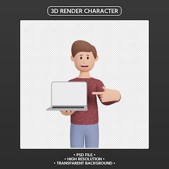 3d-render-mann-charakter, der auf laptop zeigt