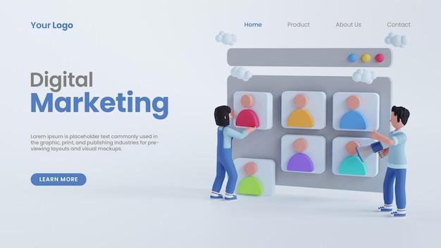 3d-render-mann-frau-charakter auf dem bildschirm online-digital-marketing-konzept-landing-page-psd-vorlage
