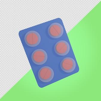 3d-render-medizintablette medizinisches symbol