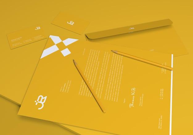 3d-render minimalistisches briefpapier-set mockups design