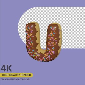 3d-render-objektmodellierung donut alphabet buchstabe u design