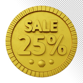 3d render of sale 25% rabatt mit goldenem fettem kreisförmigem abzeichen isoliert