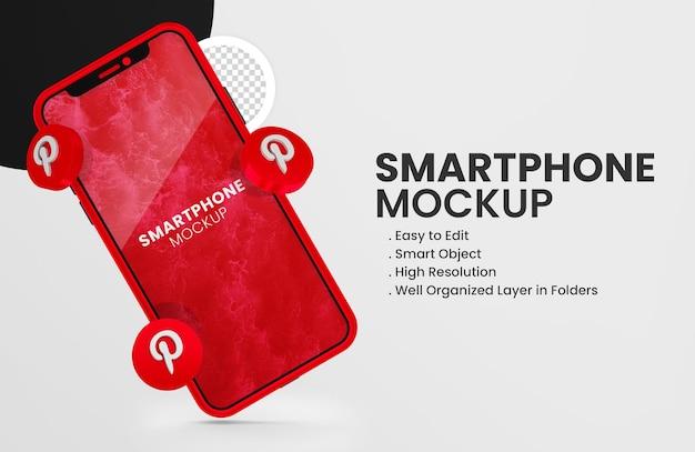 3d-render-pinterest-symbol auf rotem smartphone-modell