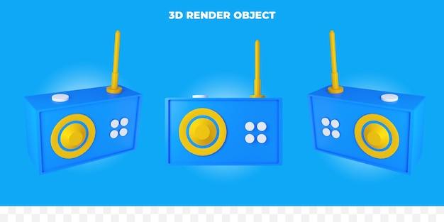 3d-render-radio Premium PSD