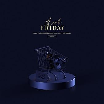 3d render schwarzer freitag verkauf auf blauem hintergrund luxus einkaufsobjekt