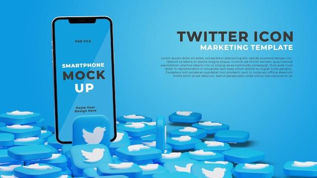 3d-render-smartphone-modell mit twitter-symbol