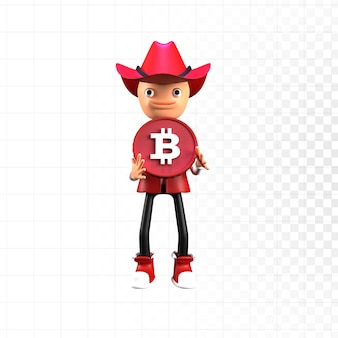 3d-render süßer charakter mit bitcoin