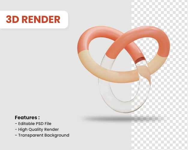 3d-render-symbol des knotens isoliert
