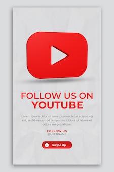 3d-render-symbol für youtube- und social-media-story-vorlage