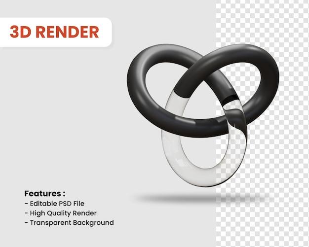 3d-render-symbol von knoten isoliert dunkle farbe