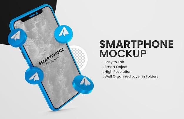 3d-render-telegrammsymbol auf blauem smartphone-modell