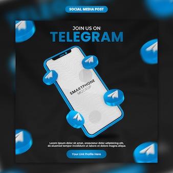 3d-render-telegrammsymbol und smartphone-social-media- und instagram-post-vorlage