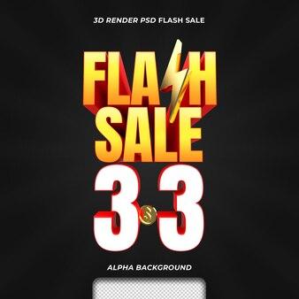 3d-render-text-flash-verkauf-rabatt-aktion 3 3