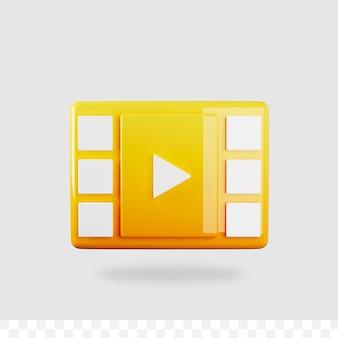 3d-render-videowiedergabe-schaltfläche Premium PSD