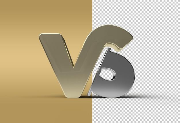 3d render vs company metal letter logo transparent psd-datei.