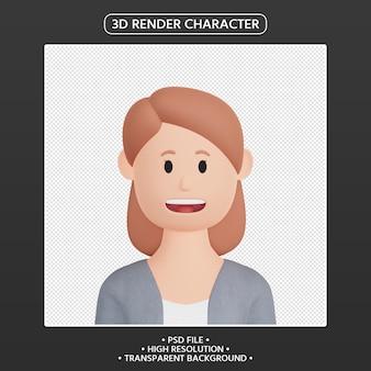 3d-render weiblicher cartoon-avatar