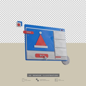 3d render weihnachten web design illustration seitenansicht