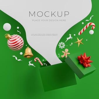 3d-render-weihnachtsgeschenk abprallen geschenkbox mit frohe weihnachten-konzept